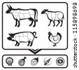 plan for cutting meat cows, sheep, pigs and chickens - stock vector