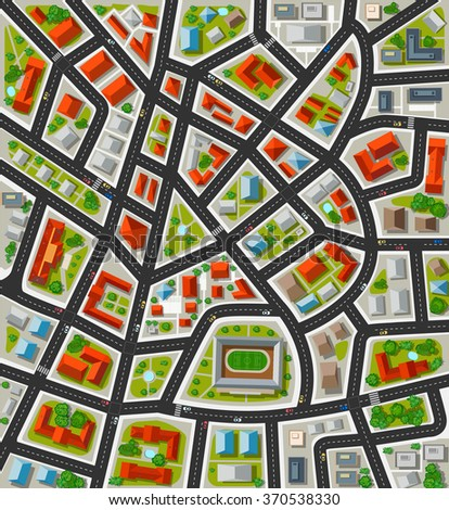 Plan for the big city with streets, roofs, cars. City in plan top view.