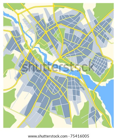 plan of abstract city map with roads and river - stock vector