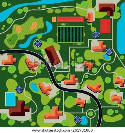 Plan of the city the stadium and home. - stock vector