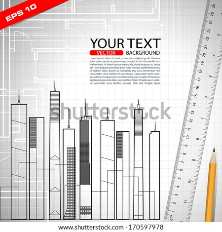 plan project architectural background in vector format - stock vector