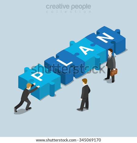 Plan puzzle piece flat 3d isometry isometric business concept web vector illustration. Businessman push puzzle piece P letter forming PLAN word. Creative people collection. - stock vector