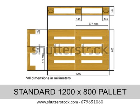 Plan View With Dimensions Of A Standard Euro Palette Flat Vector