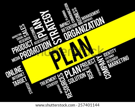 PLAN word cloud, business concept - stock vector