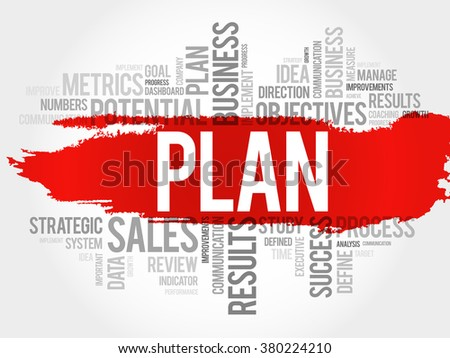 Plan word cloud, business concept background - stock vector