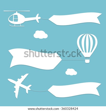 Plane, air balloon and helicopter flying with advertising banners.  - stock vector