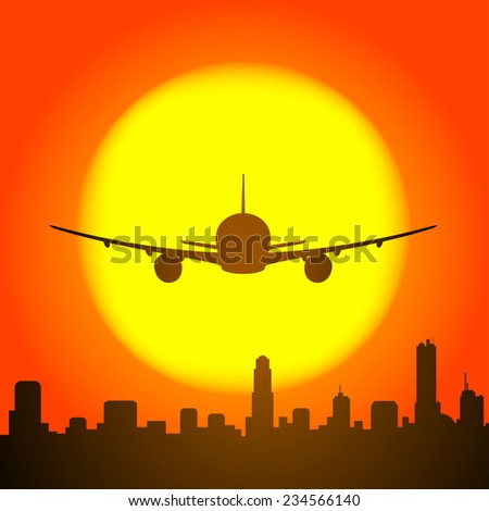 plane and city silhouette with sunset on the background
