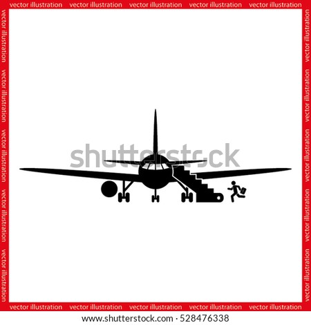 Plane and passenger icon vector illustration eps10.