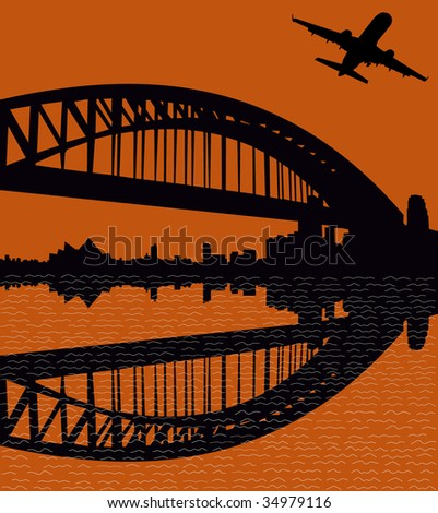 plane departing with Sydney Harbour Bridge at sunset