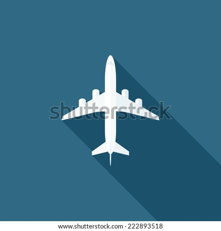 Plane flat icon. Modern flat icons with long shadow effect in stylish colors. Icons for Web and Mobile Application. EPS 10. - stock vector