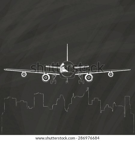 Plane flew upper a big city, hand-drawn on a chalk board. - stock vector