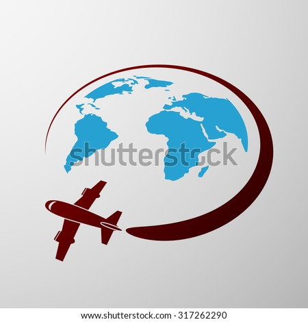 Plane flies around the Earth. Flat graphics. Stock vector illustration - stock vector