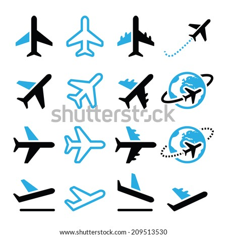 Plane, flight, airport  black and blue icons set  - stock vector