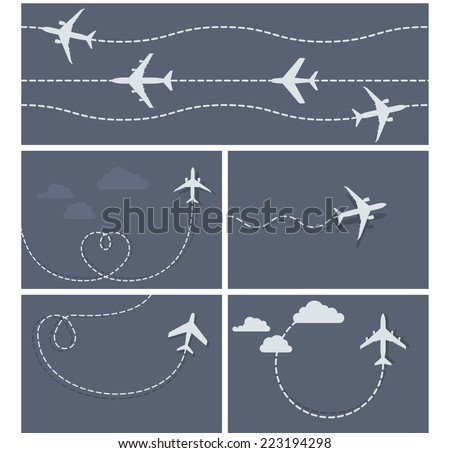 Plane flight - dotted trace of the airplane, heart-shaped and loop - stock vector