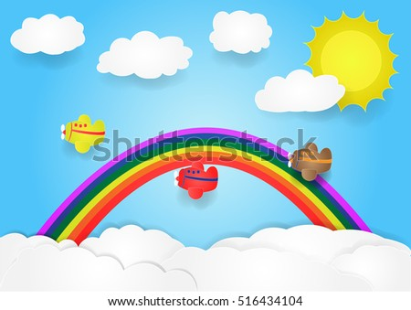 plane fly in sky with cloud and rainbow, vector, copy space for text, illustration, paper art and origami style, children book cover