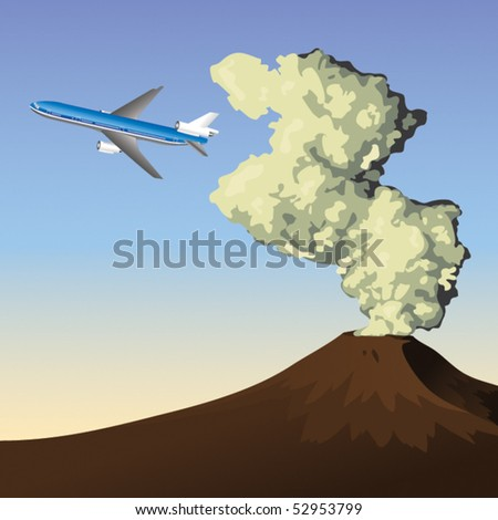 Plane flying over could of volcanic ash - stock vector