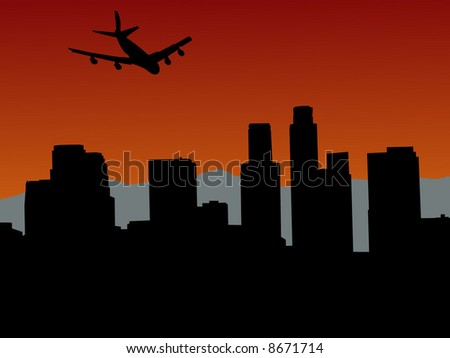 plane flying over Los Angeles skyline with mountains illustration