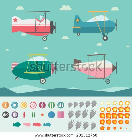 Plane Game Asset (Four Planes, Background, Icons, Smoke and Fire) - stock vector