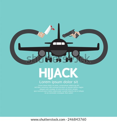 Plane Hijack Concept Abstract Design Vector Illustration - stock vector
