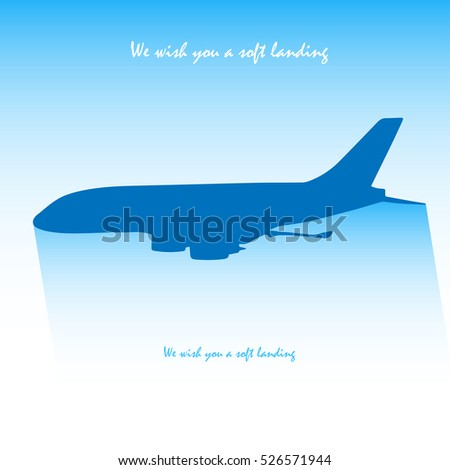 Plane icon. Flat illustration of silhouette plane icon for web isolated on a blue gradient background
