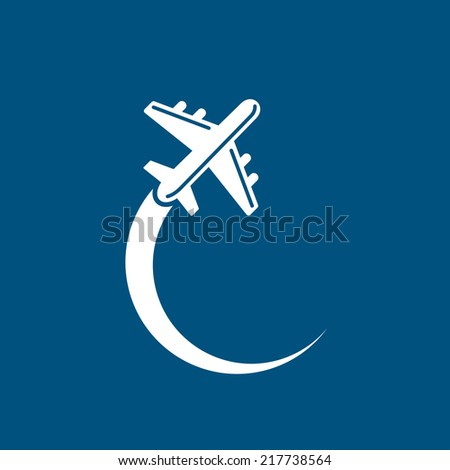 Plane icon on blue sky background. Vector - stock vector