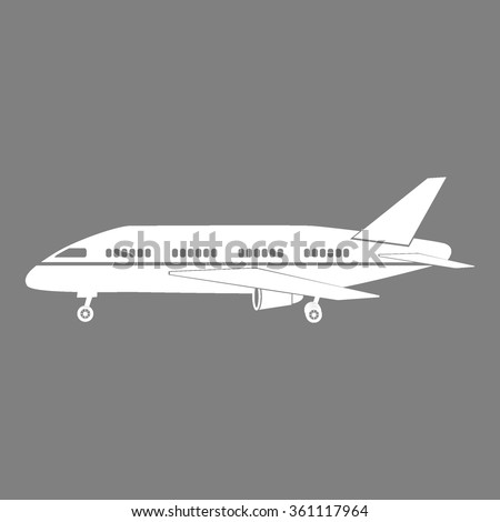 Plane icon on gray background vector illustration for web or application