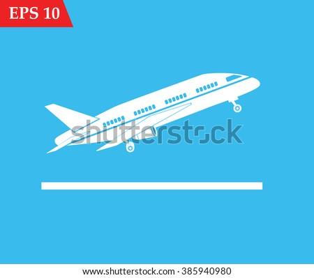 Plane icon white. Airplane icon eps10, Airplane icon vector, Airplane icon eps, Airplane icon jpg, Airplane icon picture, Airplane icon flat, Airplane icon app, Airplane icon web, Airplane icon art - stock vector