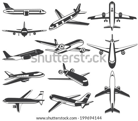 plane icons - stock vector