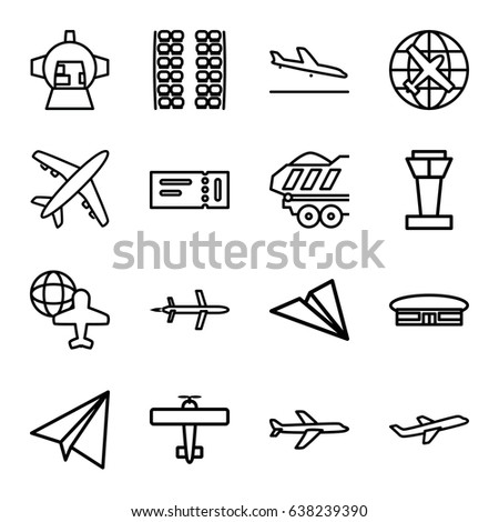 Plane icons set. set of 16 plane outline icons such as airport tower, plane landing, ticket, plane seats, airport