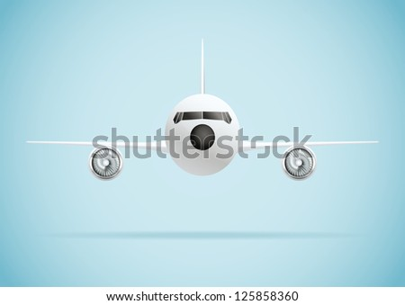Plane in front. Vector illustration - stock vector
