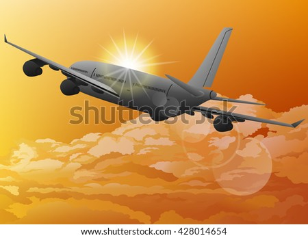 plane in sky and sunrise vector