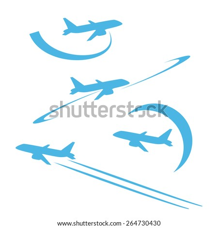 Plane in the sky. Blue. Silhouette on white background. Set. - stock vector