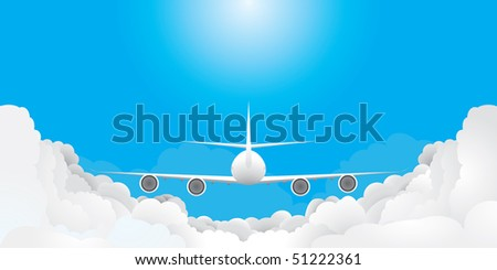Plane is flying in blue sky with clouds(vector, CMYK) - stock vector