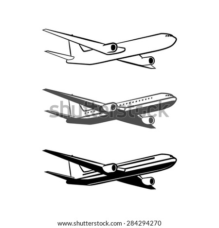 plane logo, simple vector illustration - stock vector