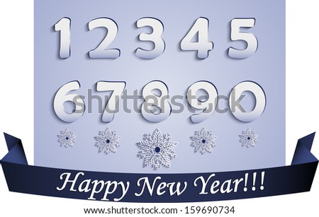 """Plane Numbers and Snowflakes with Shadows(made with Blend Tool) and Blue Ribbon with """"Happy New Year!!!"""" words - stock vector"""