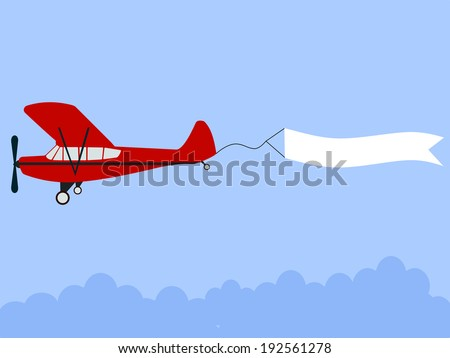 plane pulling banner flat design illustration with minimalist elements for web design - stock vector