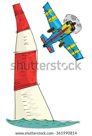 plane race - cartoon - stock vector