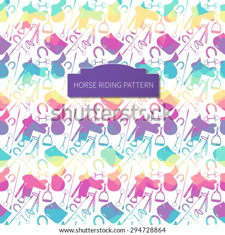 Plane rainbow horse items on white background. Bright seamless pattern for your design. Vector. - stock vector