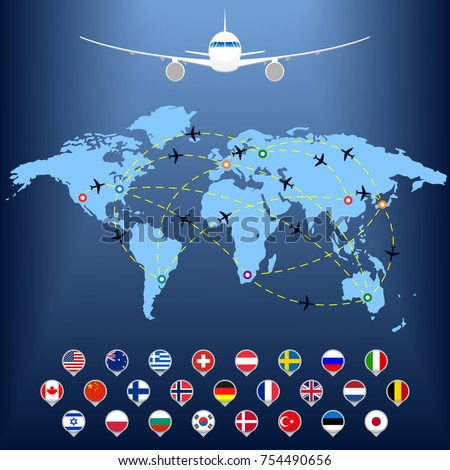 Plane routes over world map markers stock vector hd royalty free plane routes over world map with markers or map pointers travel by airplane concept gumiabroncs Images