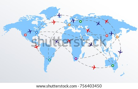 Plane routes over world map markers vectores en stock 756403450 plane routes over world map with markers or map pointers travel by airplane concept gumiabroncs Images