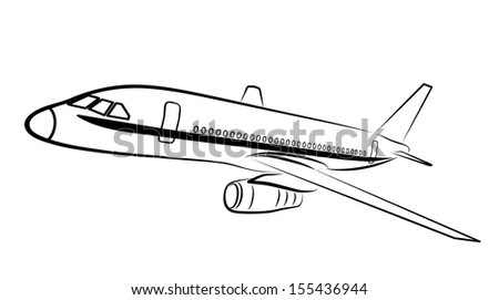 plane silhouette on a white background - stock vector