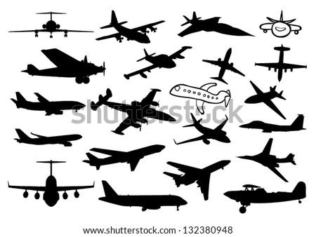 Plane silhouettes - stock vector
