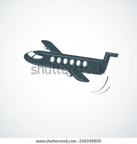 Plane symbol, airplane logo, simple vector illustration - stock vector