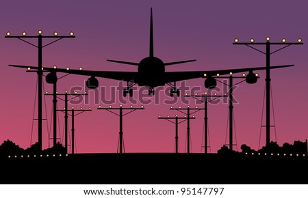 plane takes off - stock vector