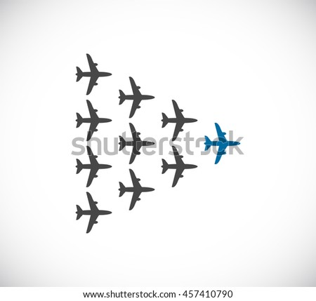 plane teamwork leader icon - stock vector