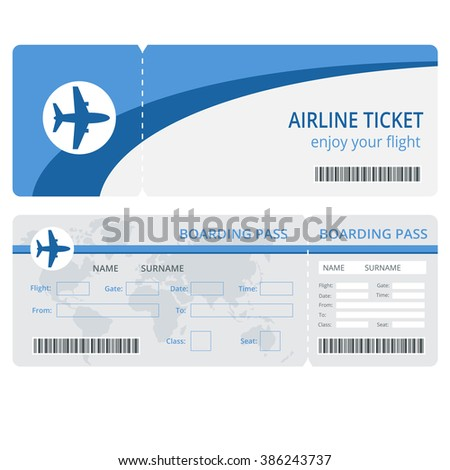 Plane Ticket Design. Blank Plane Tickets For Business Trip Travel Or  Vacation Journey Isolated Vector  Printable Fake Airline Tickets