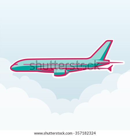 Plane, transportation vehicles, Flat style vector illustration