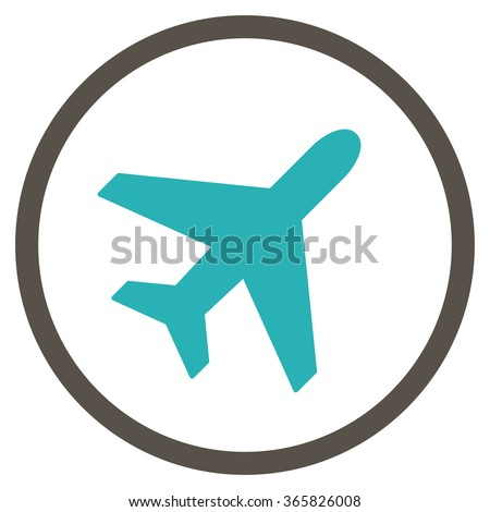 Plane vector icon. Style is bicolor flat circled symbol, grey and cyan colors, rounded angles, white background.