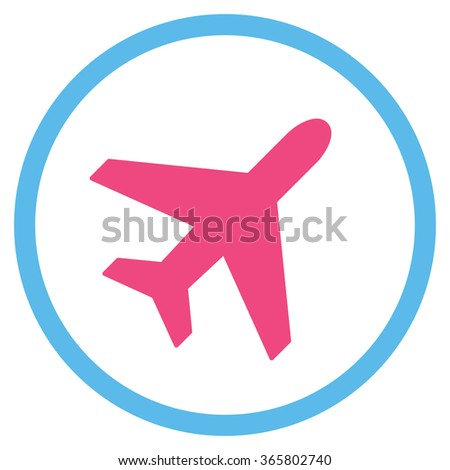 Plane vector icon. Style is bicolor flat circled symbol, pink and blue colors, rounded angles, white background.