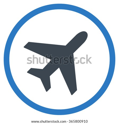 Plane vector icon. Style is bicolor flat circled symbol, smooth blue colors, rounded angles, white background.
